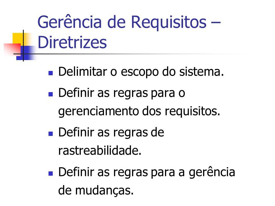Gerência de Requisitos – Diretrizes Delimitar o escopo do sistema.