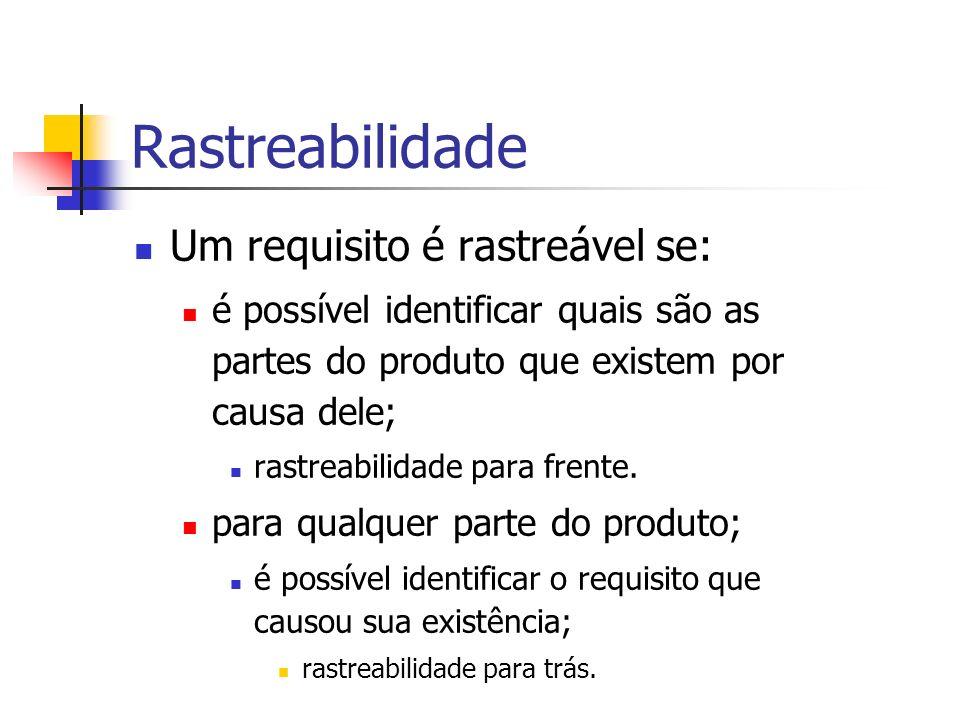 Rastreabilidade Um requisito é rastreável se: é possível identificar quais são as partes do produto que existem por causa dele; rastreabilidade para frente.