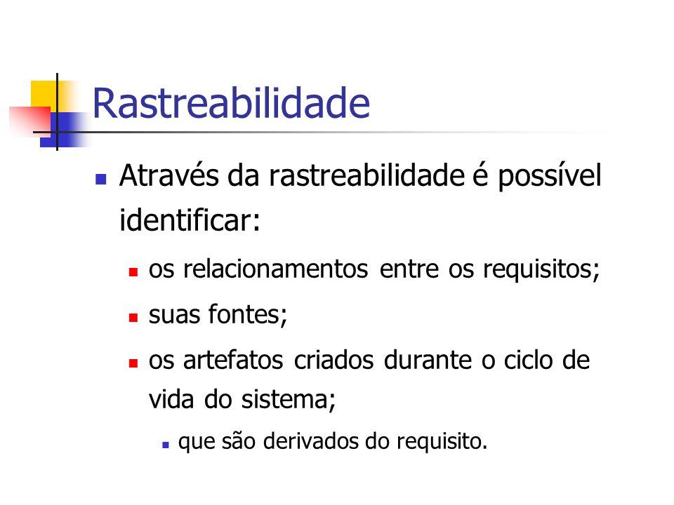Rastreabilidade Através da rastreabilidade é possível identificar: os relacionamentos entre os requisitos; suas fontes; os artefatos criados durante o ciclo de vida do sistema; que são derivados do requisito.