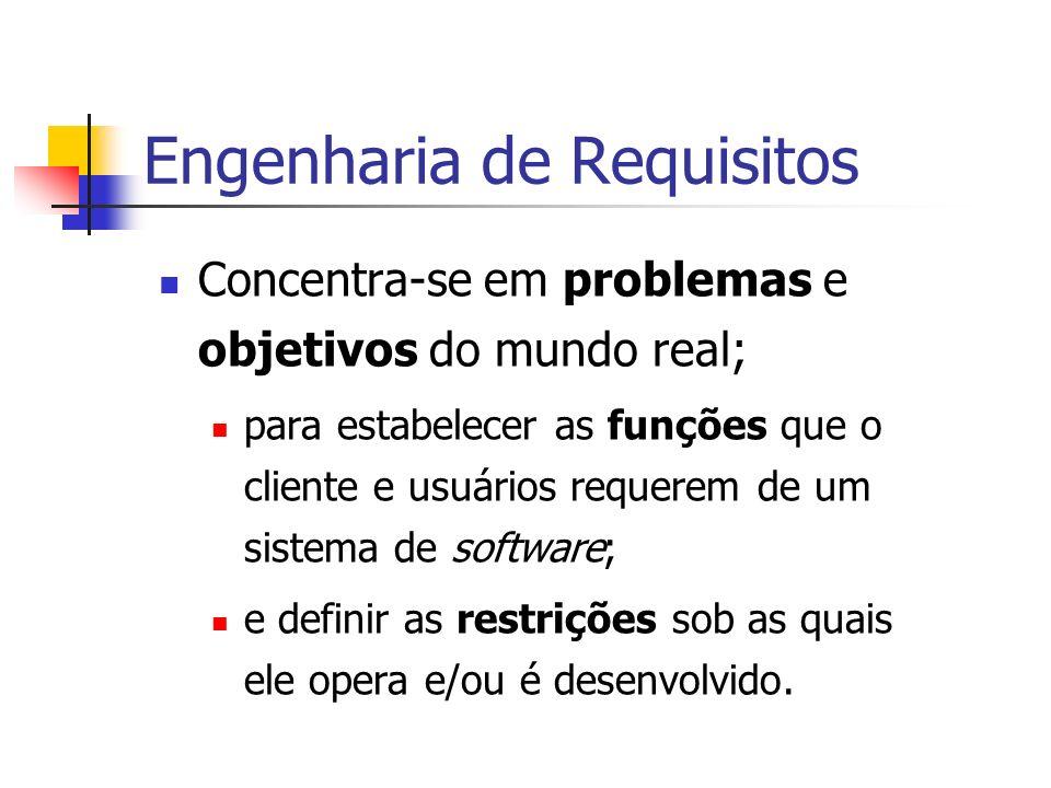 Engenharia de Requisitos Concentra-se em problemas e objetivos do mundo real; para estabelecer as funções que o cliente e usuários requerem de um sistema de software; e definir as restrições sob as quais ele opera e/ou é desenvolvido.
