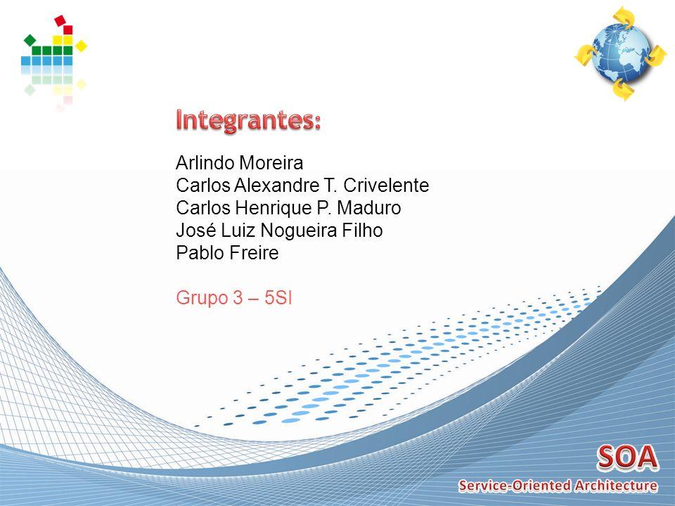 Arlindo Moreira Carlos Alexandre T. Crivelente Carlos Henrique P. Maduro José Luiz Nogueira Filho Pablo Freire Grupo 3 – 5SI