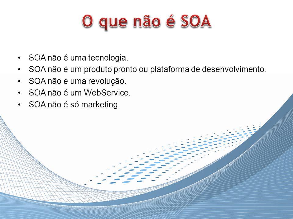 SOA não é uma tecnologia. SOA não é um produto pronto ou plataforma de desenvolvimento. SOA não é uma revolução. SOA não é um WebService. SOA não é só