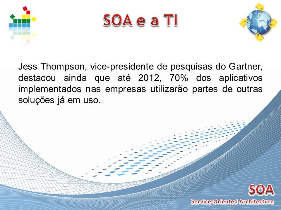 Jess Thompson, vice-presidente de pesquisas do Gartner, destacou ainda que até 2012, 70% dos aplicativos implementados nas empresas utilizarão partes