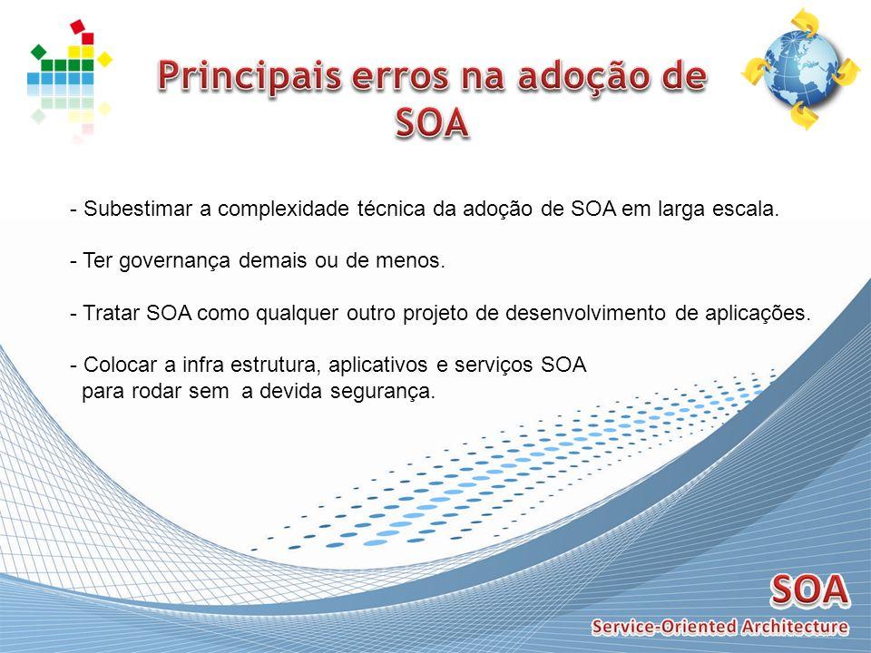 - Subestimar a complexidade técnica da adoção de SOA em larga escala. - Ter governança demais ou de menos. - Tratar SOA como qualquer outro projeto de