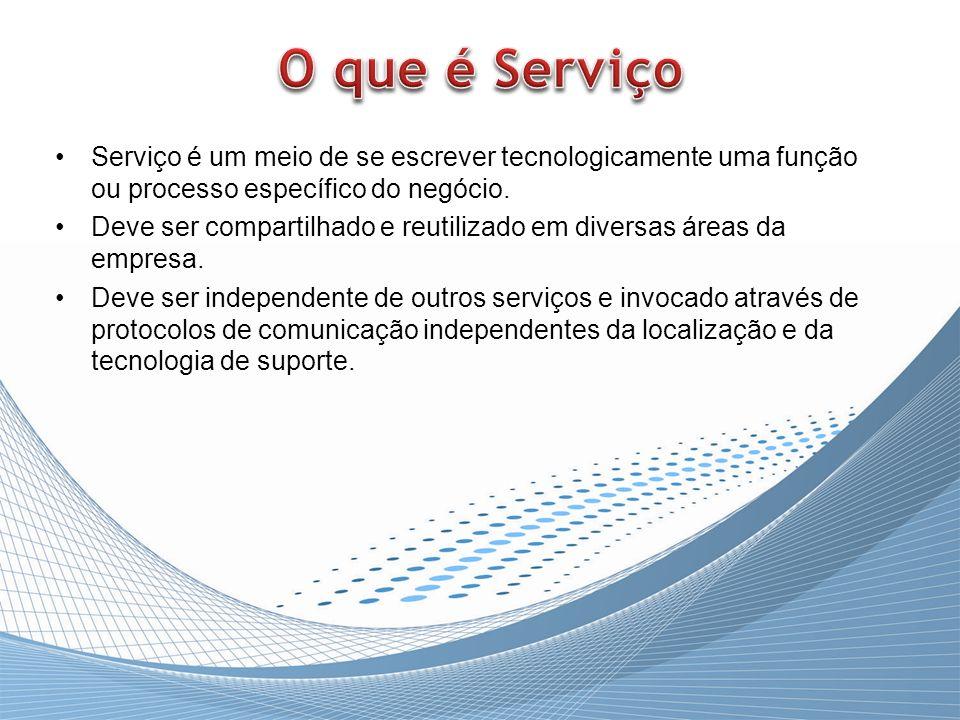 Serviço é um meio de se escrever tecnologicamente uma função ou processo específico do negócio. Deve ser compartilhado e reutilizado em diversas áreas