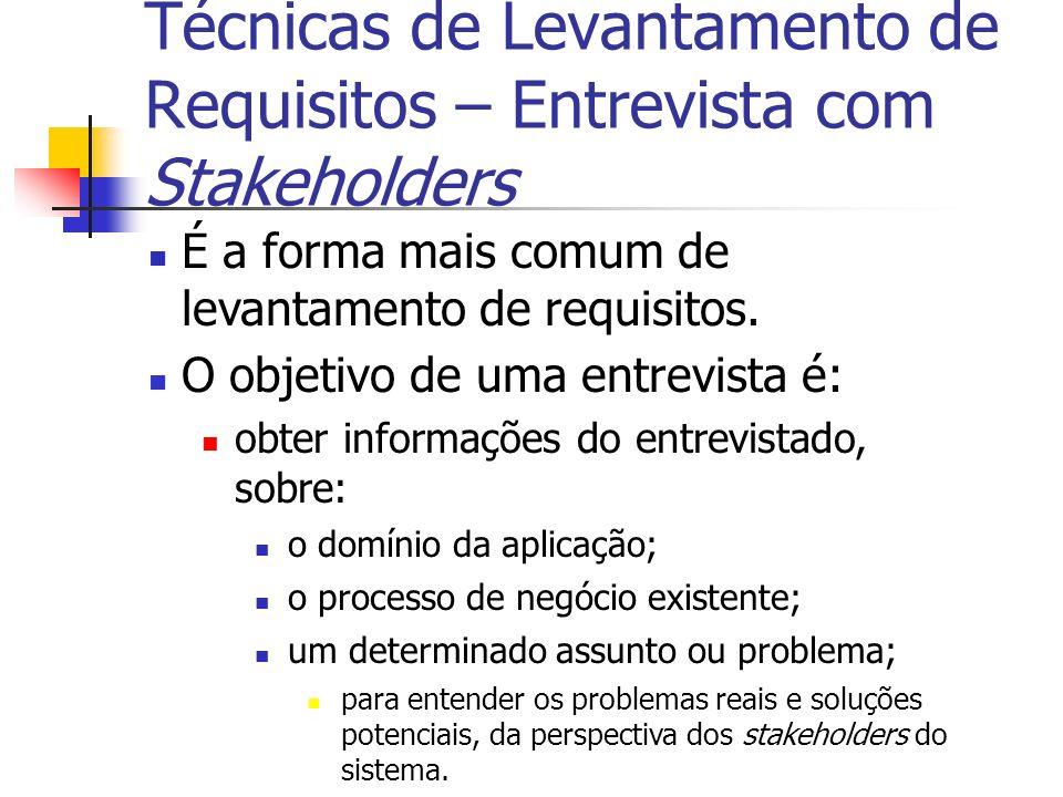 É a forma mais comum de levantamento de requisitos. O objetivo de uma entrevista é: obter informações do entrevistado, sobre: o domínio da aplicação;