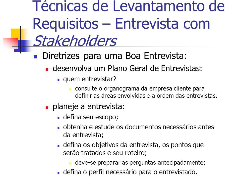 Diretrizes para uma Boa Entrevista: desenvolva um Plano Geral de Entrevistas: quem entrevistar? consulte o organograma da empresa cliente para definir