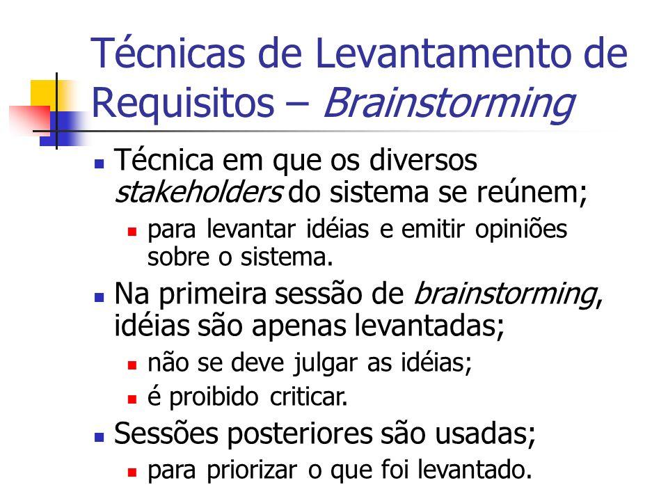 Técnica em que os diversos stakeholders do sistema se reúnem; para levantar idéias e emitir opiniões sobre o sistema. Na primeira sessão de brainstorm