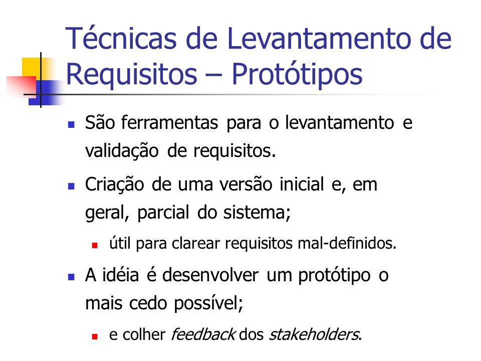 Técnicas de Levantamento de Requisitos – Protótipos São ferramentas para o levantamento e validação de requisitos. Criação de uma versão inicial e, em