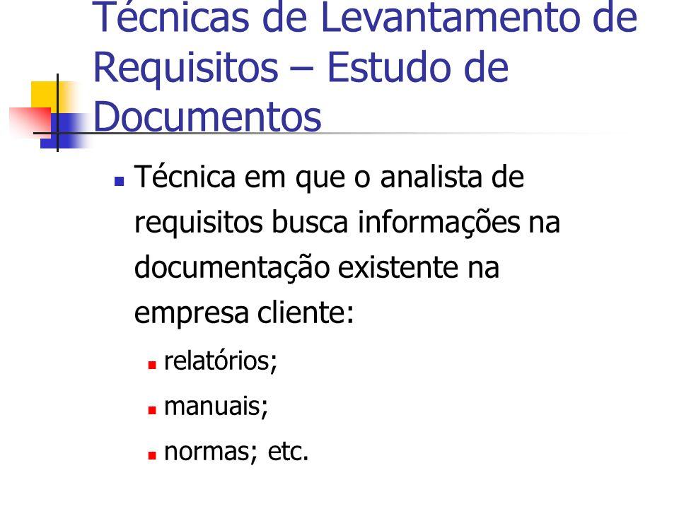 Técnica em que o analista de requisitos busca informações na documentação existente na empresa cliente: relatórios; manuais; normas; etc. Técnicas de