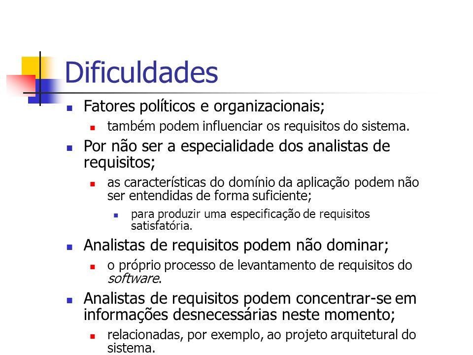 Dificuldades Fatores políticos e organizacionais; também podem influenciar os requisitos do sistema. Por não ser a especialidade dos analistas de requ