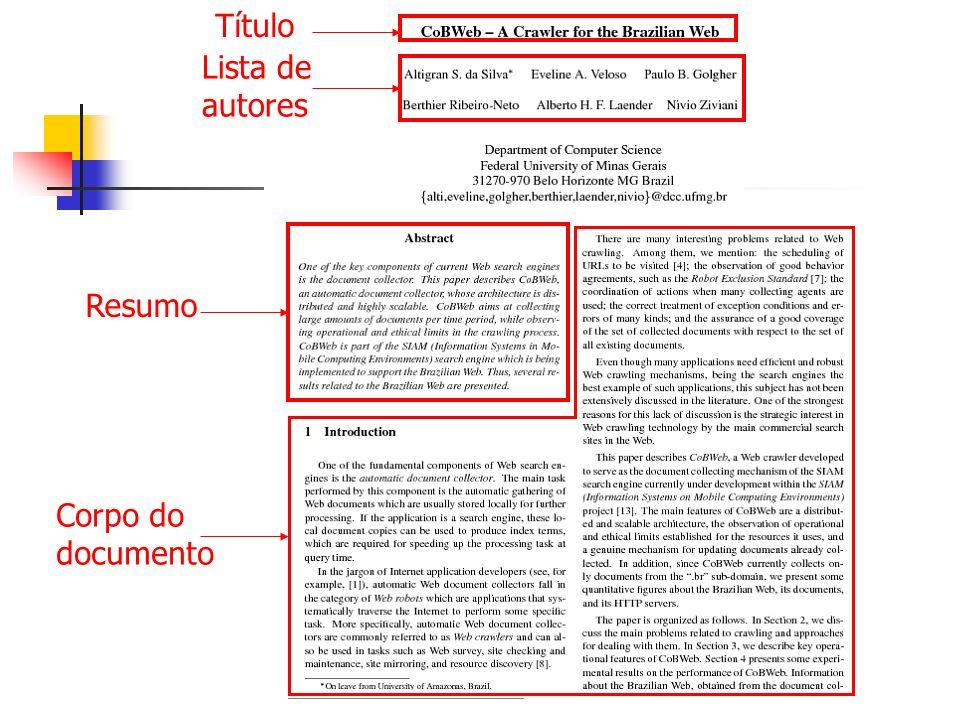 Título Lista de autores Resumo Corpo do documento