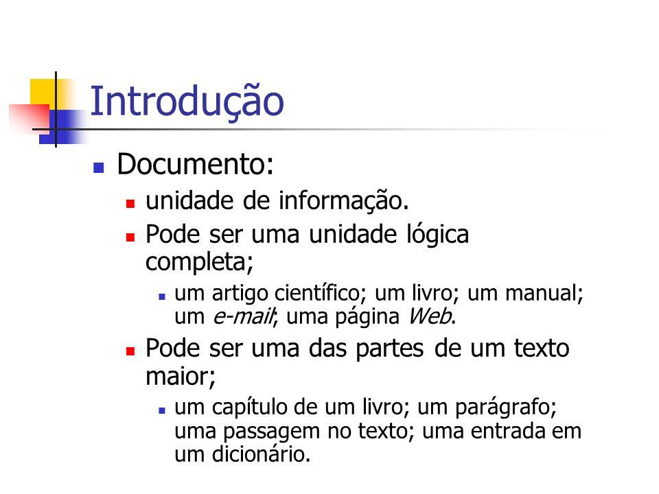 Introdução Documento: unidade de informação. Pode ser uma unidade lógica completa; um artigo científico; um livro; um manual; um e-mail; uma página We