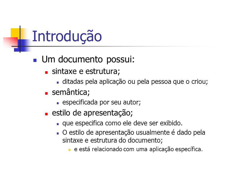Introdução Um documento possui: sintaxe e estrutura; ditadas pela aplicação ou pela pessoa que o criou; semântica; especificada por seu autor; estilo