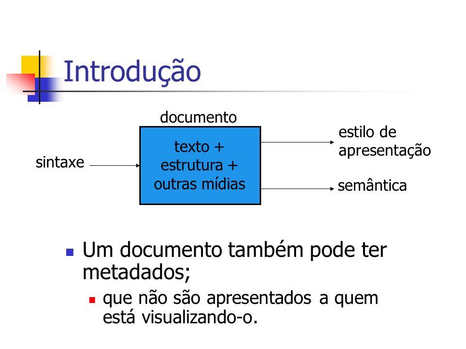 Introdução Um documento também pode ter metadados; que não são apresentados a quem está visualizando-o. sintaxe documento texto + estrutura + outras m