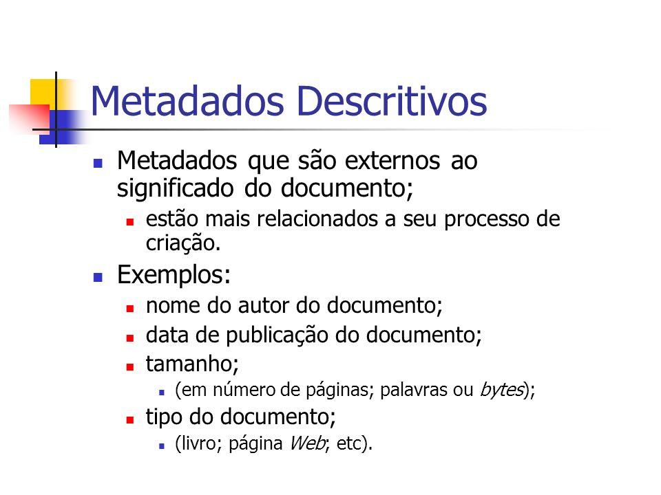 Metadados Descritivos Metadados que são externos ao significado do documento; estão mais relacionados a seu processo de criação. Exemplos: nome do aut