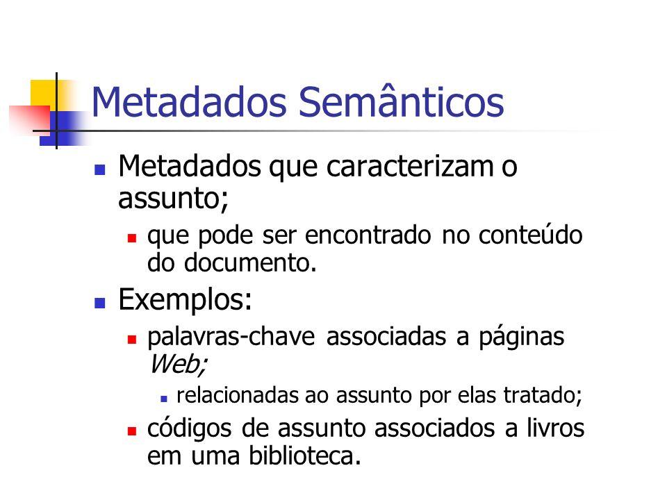 Metadados Semânticos Metadados que caracterizam o assunto; que pode ser encontrado no conteúdo do documento. Exemplos: palavras-chave associadas a pág