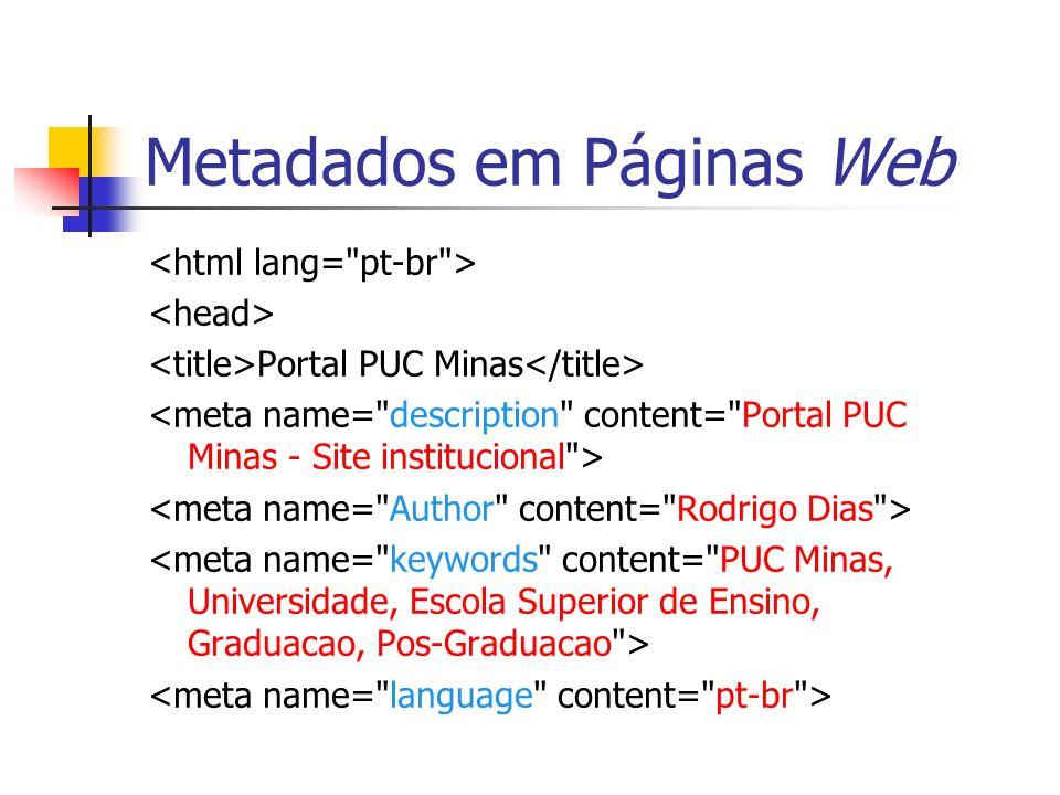 Metadados em Páginas Web Portal PUC Minas