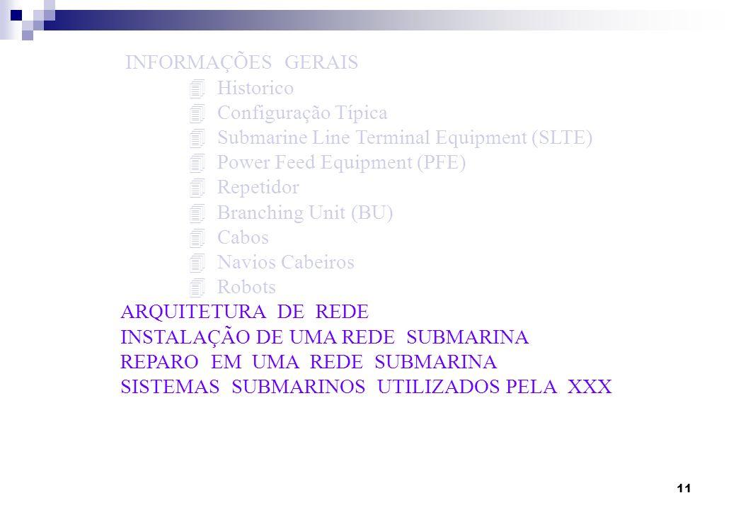 11 INFORMAÇÕES GERAIS 4 Historico 4 Configuração Típica 4 Submarine Line Terminal Equipment (SLTE) 4 Power Feed Equipment (PFE) 4 Repetidor 4 Branchin