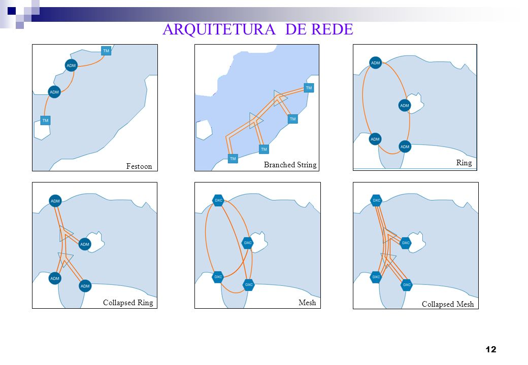 12 ARQUITETURA DE REDE Festoon Ring Collapsed RingMesh Collapsed Mesh Festoon Branched String