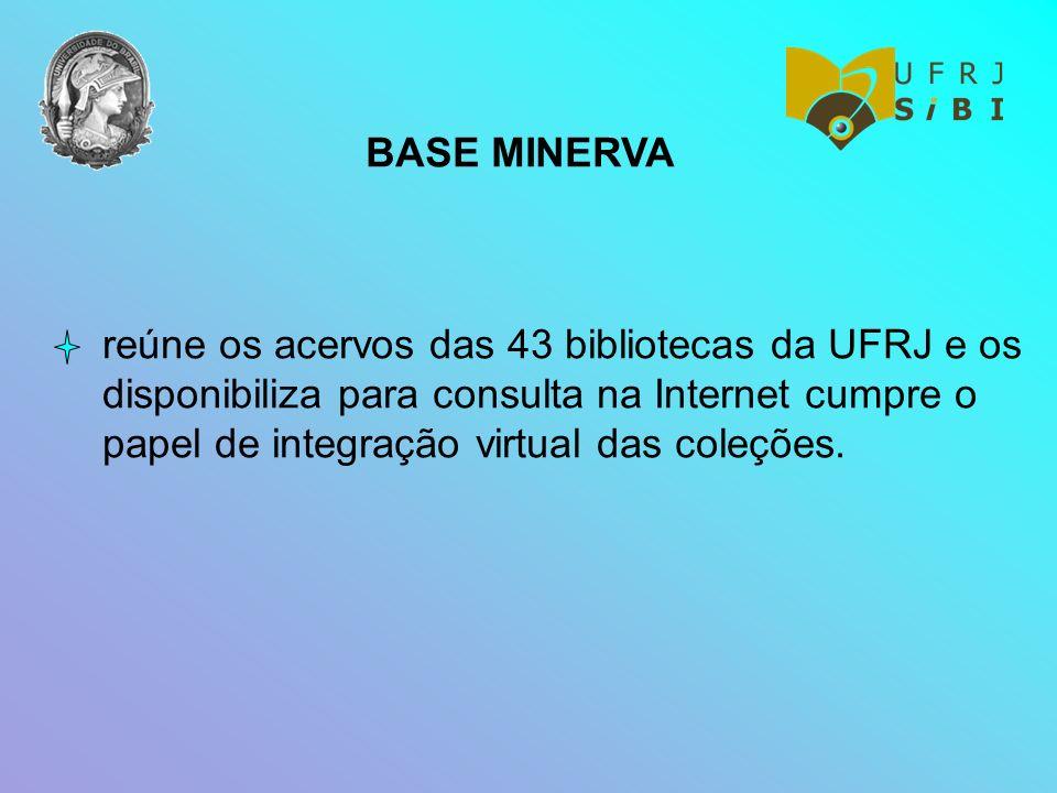 BASE MINERVA reúne os acervos das 43 bibliotecas da UFRJ e os disponibiliza para consulta na Internet cumpre o papel de integração virtual das coleçõe