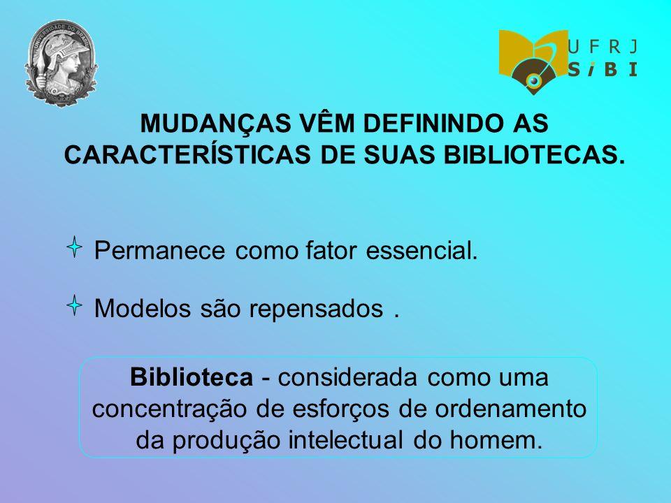 MUDANÇAS VÊM DEFININDO AS CARACTERÍSTICAS DE SUAS BIBLIOTECAS. Permanece como fator essencial. Modelos são repensados. Biblioteca - considerada como u