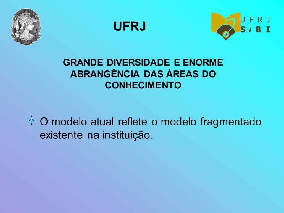 GRANDE DIVERSIDADE E ENORME ABRANGÊNCIA DAS ÁREAS DO CONHECIMENTO O modelo atual reflete o modelo fragmentado existente na instituição. UFRJ
