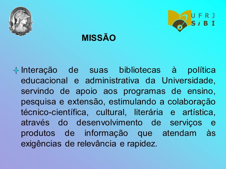 MISSÃO Interação de suas bibliotecas à política educacional e administrativa da Universidade, servindo de apoio aos programas de ensino, pesquisa e ex