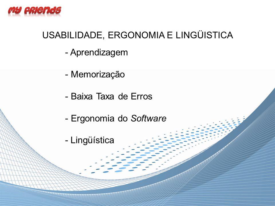 USABILIDADE, ERGONOMIA E LINGÜISTICA - Aprendizagem - Memorização - Baixa Taxa de Erros - Ergonomia do Software - Lingüística