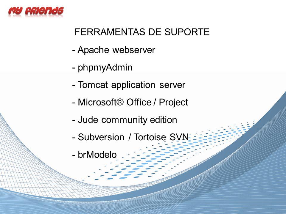 FERRAMENTAS DE SUPORTE - Apache webserver - Tomcat application server - Microsoft® Office / Project - Subversion / Tortoise SVN - Jude community editi