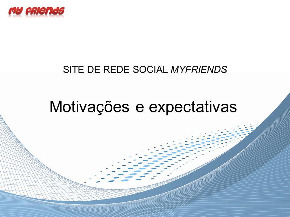 Motivações e expectativas SITE DE REDE SOCIAL MYFRIENDS