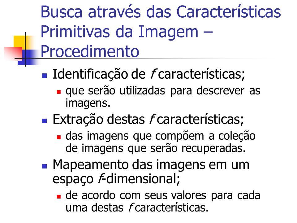 Busca através das Características Primitivas da Imagem – Procedimento Identificação de f características; que serão utilizadas para descrever as image