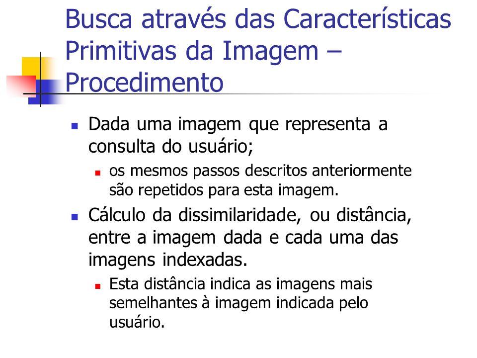 Busca através das Características Primitivas da Imagem – Procedimento Dada uma imagem que representa a consulta do usuário; os mesmos passos descritos