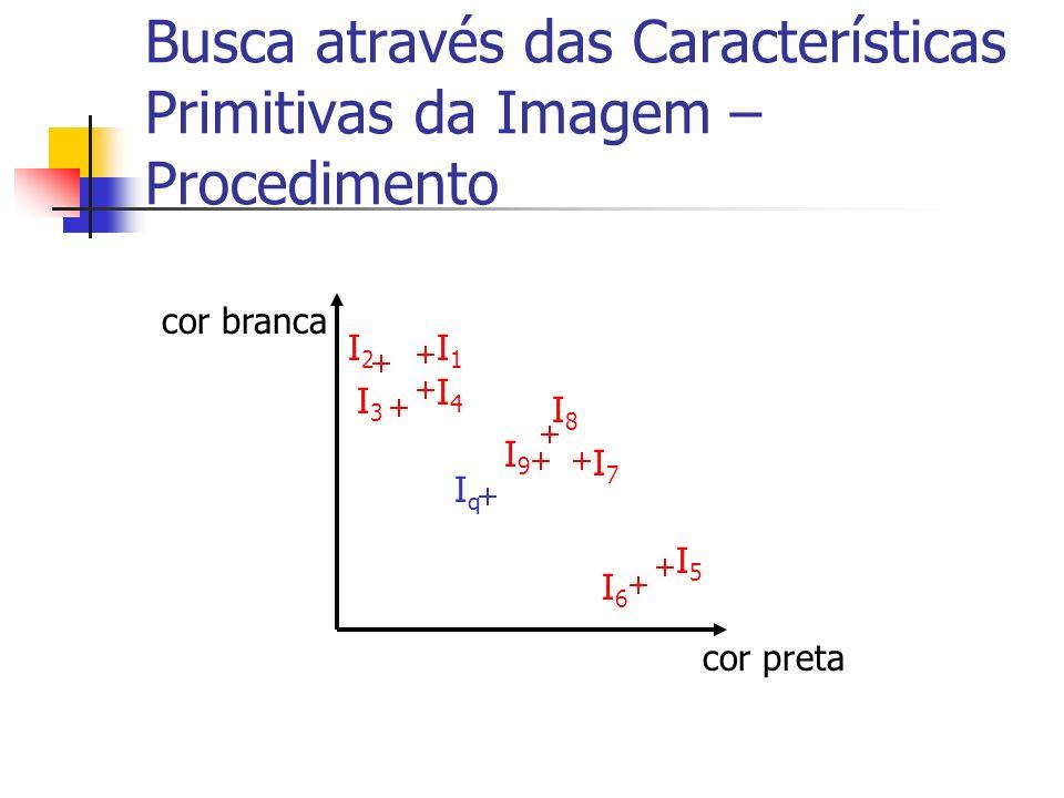 Busca através das Características Primitivas da Imagem – Procedimento cor preta cor branca I1I1 I2I2 I3I3 I4I4 I5I5 I6I6 I7I7 I8I8 I9I9 IqIq