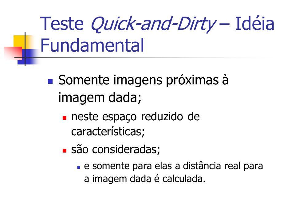 Teste Quick-and-Dirty – Idéia Fundamental Somente imagens próximas à imagem dada; neste espaço reduzido de características; são consideradas; e soment