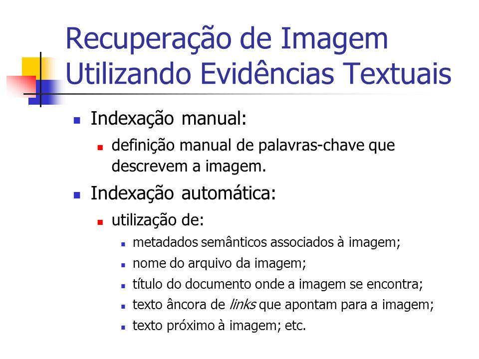 Recuperação de Imagem Utilizando Evidências Textuais Indexação manual: definição manual de palavras-chave que descrevem a imagem. Indexação automática