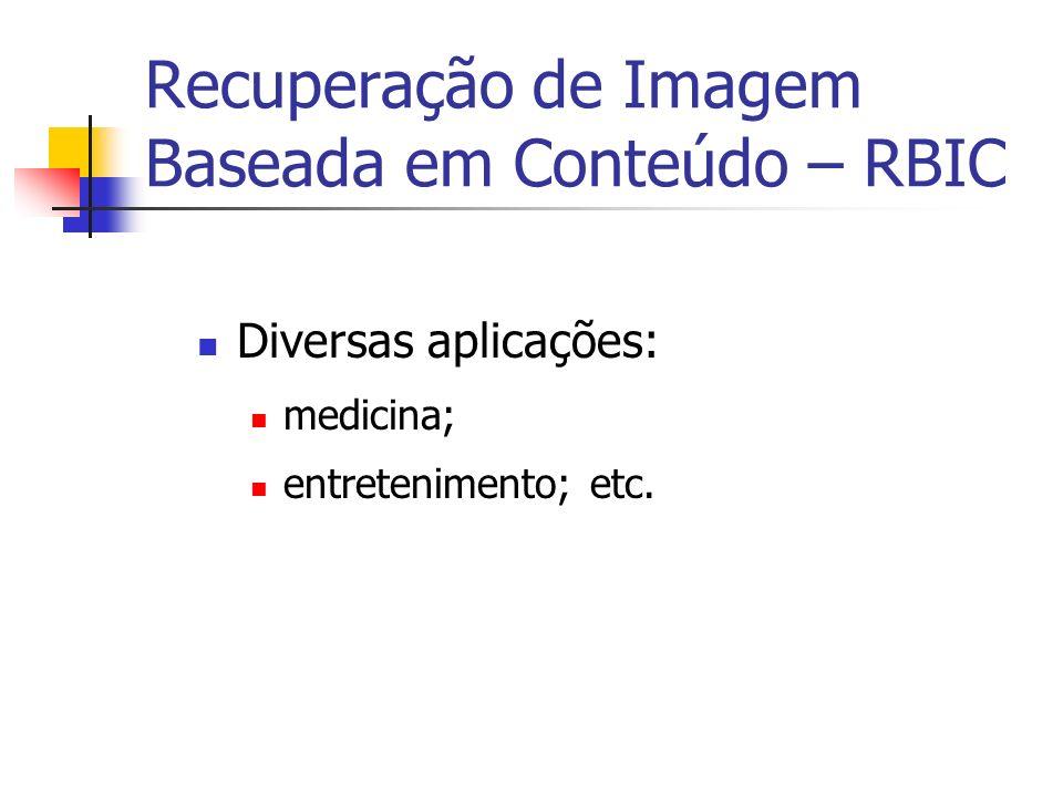Recuperação de Imagem Baseada em Conteúdo – RBIC Diversas aplicações: medicina; entretenimento; etc.