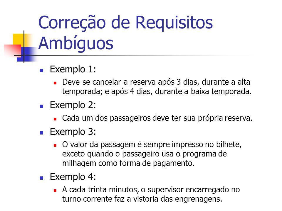 Correção de Requisitos Ambíguos Exemplo 1: Deve-se cancelar a reserva após 3 dias, durante a alta temporada; e após 4 dias, durante a baixa temporada.
