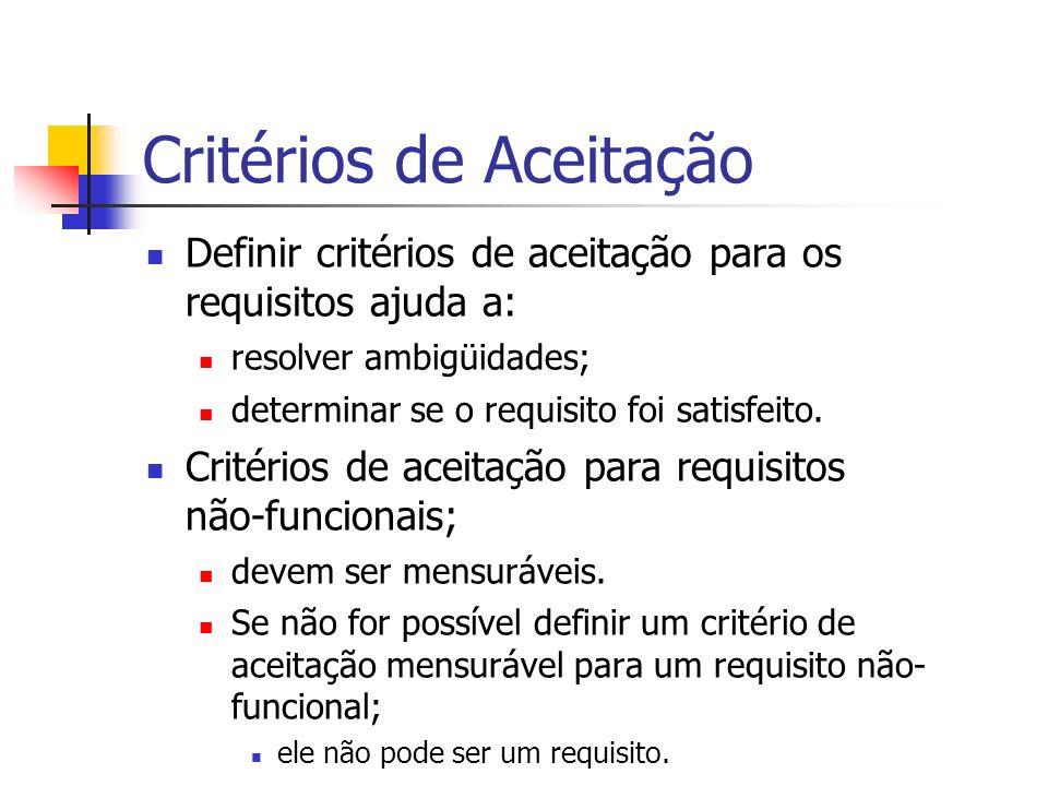 Critérios de Aceitação Definir critérios de aceitação para os requisitos ajuda a: resolver ambigüidades; determinar se o requisito foi satisfeito.