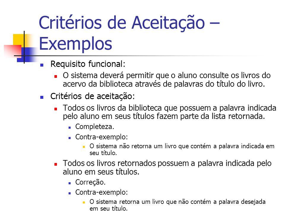 Critérios de Aceitação – Exemplos Requisito funcional: O sistema deverá permitir que o aluno consulte os livros do acervo da biblioteca através de palavras do título do livro.