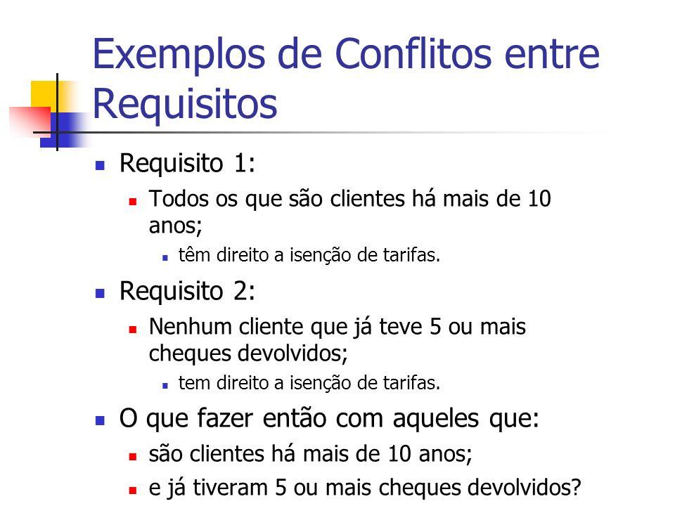 Exemplos de Conflitos entre Requisitos Requisito 1: Todos os que são clientes há mais de 10 anos; têm direito a isenção de tarifas.