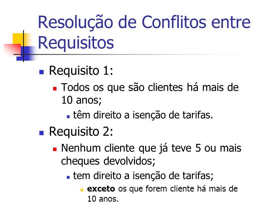 Resolução de Conflitos entre Requisitos Requisito 1: Todos os que são clientes há mais de 10 anos; têm direito a isenção de tarifas.