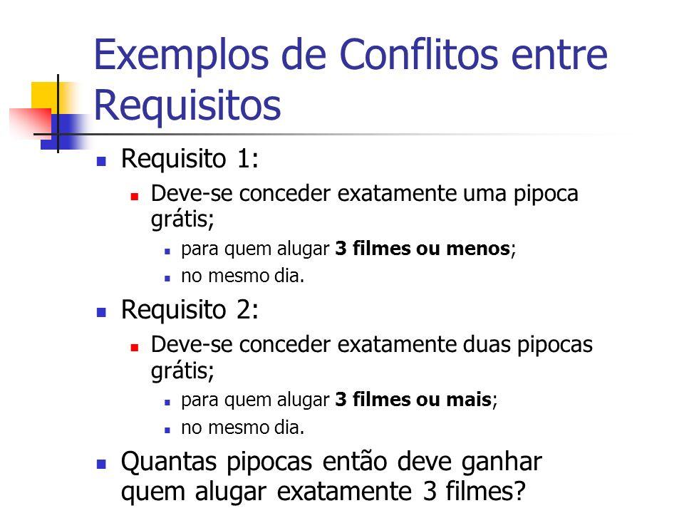 Exemplos de Conflitos entre Requisitos Requisito 1: Deve-se conceder exatamente uma pipoca grátis; para quem alugar 3 filmes ou menos; no mesmo dia.