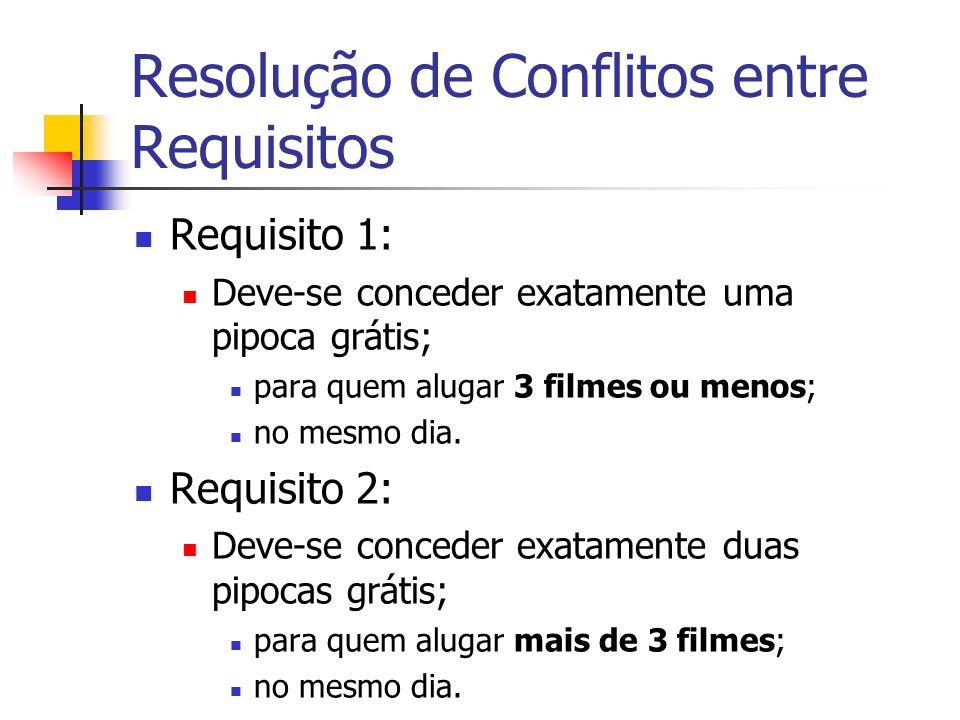Resolução de Conflitos entre Requisitos Requisito 1: Deve-se conceder exatamente uma pipoca grátis; para quem alugar 3 filmes ou menos; no mesmo dia.