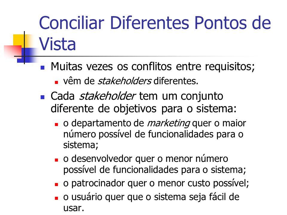 Conciliar Diferentes Pontos de Vista Muitas vezes os conflitos entre requisitos; vêm de stakeholders diferentes.