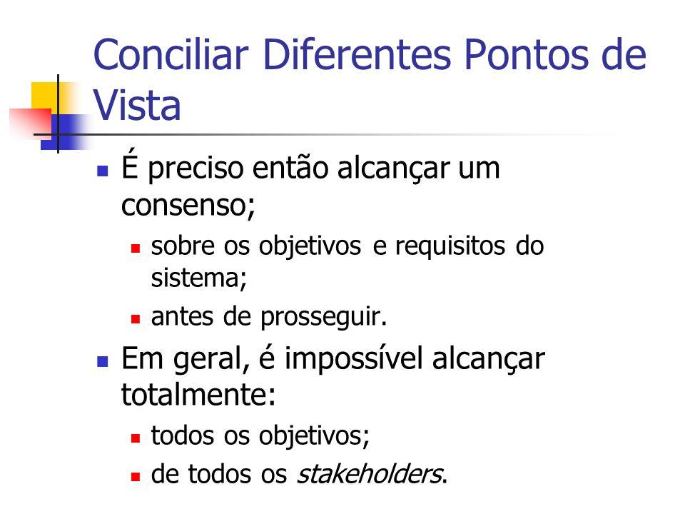Conciliar Diferentes Pontos de Vista É preciso então alcançar um consenso; sobre os objetivos e requisitos do sistema; antes de prosseguir.