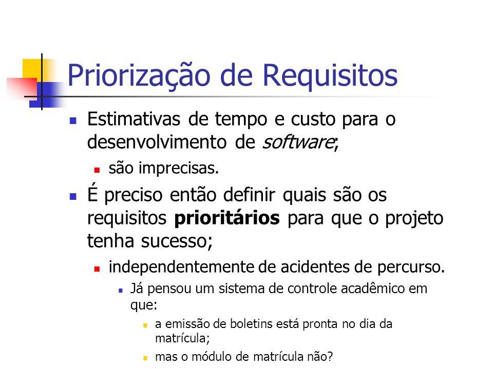 Priorização de Requisitos Estimativas de tempo e custo para o desenvolvimento de software; são imprecisas.