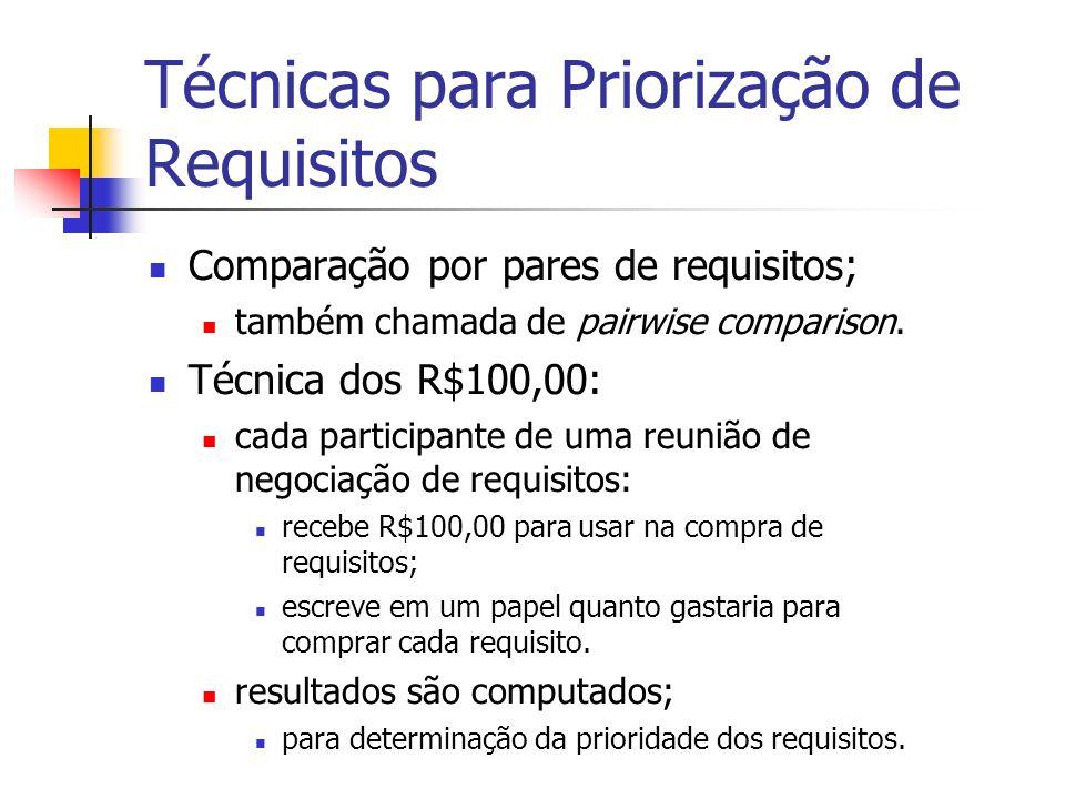 Técnicas para Priorização de Requisitos Comparação por pares de requisitos; também chamada de pairwise comparison.