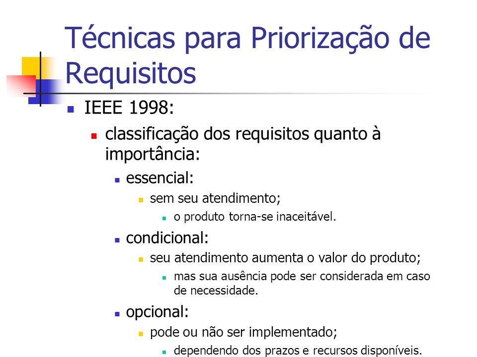 Técnicas para Priorização de Requisitos IEEE 1998: classificação dos requisitos quanto à importância: essencial: sem seu atendimento; o produto torna-se inaceitável.
