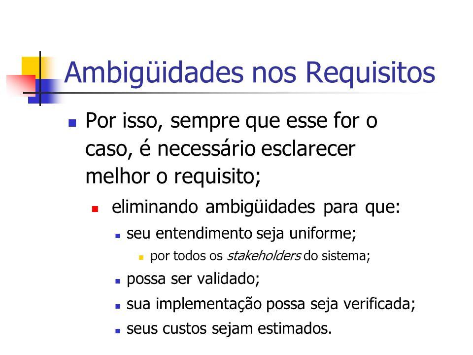 Ambigüidades nos Requisitos Por isso, sempre que esse for o caso, é necessário esclarecer melhor o requisito; eliminando ambigüidades para que: seu entendimento seja uniforme; por todos os stakeholders do sistema; possa ser validado; sua implementação possa seja verificada; seus custos sejam estimados.
